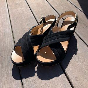 JCREW Black Platform Sandals